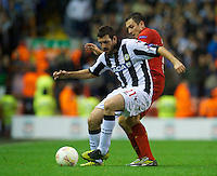 LIVERPOOL, ENGLAND - Thursday, October 4, 2012: Liverpool's Stewart Downing in action against Udinese Calcio's Andrea Lazzari during the UEFA Europa League Group A match at Anfield. (Pic by David Rawcliffe/Propaganda)