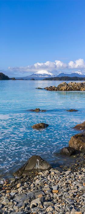 View of Mount Edgecumbe across Sitka Sound in Southeast, Alaska.