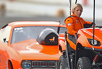 Feb 10, 2017; Pomona, CA, USA; NHRA top sportsman driver Lynsi Snyder-Ellingson during qualifying for the Winternationals at Auto Club Raceway at Pomona. Snyder-Ellingson is the owner of In-N-Out Burger company. Mandatory Credit: Mark J. Rebilas-USA TODAY Sports