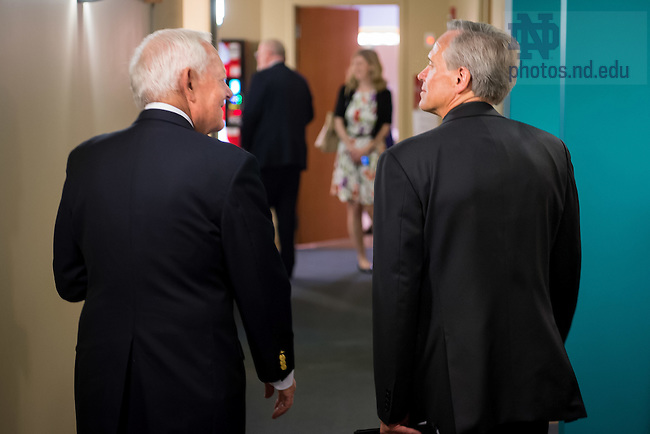 "September 14, 2016; Former CBS News anchor Bob Schieffer and Notre Dame president Rev. John I. Jenkins, C.S.C. chat prior to the Notre Dame Forum: ""Debating our Future."" (Photo by Matt Cashore/University of Notre Dame)"