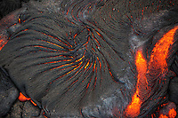 An aerial view of lava flowing from Kilauea Volcano, Big Island of Hawai'i.