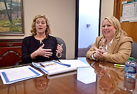 NWA Democrat-Gazette/BEN GOFF -- 02/12/15 Laurel Jackson (left), president of the Rogers Public Education Foundation Board, and Rachel Harris, vice president of the Rogers Public Education Foundation Board, talk about their work with the foundation at the Rogers Public Schools Administration building in Rogers on Thursday, Feb. 12, 2015.