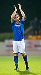 St Johnstone v Rosenborg....25.07.13  Europa League Qualifier<br /> Frazer Wright applauds the fans<br /> Picture by Graeme Hart.<br /> Copyright Perthshire Picture Agency<br /> Tel: 01738 623350  Mobile: 07990 594431