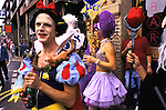 'GAYFEST MANCHESTER, UK', REVELLERS DRESSED UP IN DIFFERENT OUTFITS, REPRESENTING CHILDREN'S CARTOON CHARACTERS,