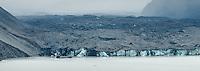 Terminus and terminal lake of Tasman Glacier, Aoraki, Mt. Cook National Park, Mackenzie Country, UNESCO World Heritage Area, New Zealand, NZ