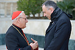 Patriarch Louis Rafael Sako (left), president of the synod of the Chaldean Catholic Church, talks with Father Michel Jalakh, general secretary of the Middle East Council of Churches, on January 22, 2017, during the visit of a high-level ecumenical delegation to Baghdad, Iraq.