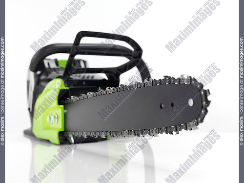 Electric Cordless battery powered chainsaw isolated on white