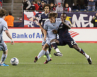 Colorado Rapids midfielder Wells Thompson (15) and Joseph Niouky compete for the ball.  The Colorado Rapids defeated the New England Revolution, 2-1, at Gillette Stadium on April 24.2010