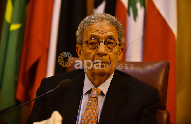 Egyptian former Secretary-General of the Arab League, Amr Moussa attends a meeting in the Arab League's headquarters in the Egyptian capital, Cairo, on Dec. 07, 2015. The Arab Thought Foundation is an international independent non-governmental organization. It has no inclination to any party or religious group; it is rather dedicated to promote the Nation's pride with all its principles, values and ethics, in an atmosphere of a responsible freedom. Photo by Amr Sayed
