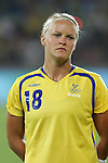12 August 2008: Nilla Fischer (SWE).  The women's Olympic team of Sweden defeated the women's Olympic soccer team of Canada 2-1 at Beijing Workers' Stadium in Beijing, China in a Group E round-robin match in the Women's Olympic Football competition.