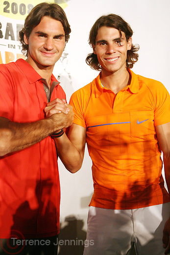 l to r: Roger Federer and Raphael Nadal at the Don King and Nike presentation(press conference) ' Grapple in the Apple '  with Roger Federer and Raphael Nadal at The Madarin Oriental Hotel (North Salon) on August 21, 2008 in New York City