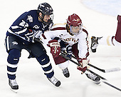 Kevin Goumas (UNH - 27), Quinn Smith (BC - 27) - The Boston College Eagles defeated the visiting University of New Hampshire Wildcats 5-2 on Friday, January 11, 2013, at Kelley Rink in Conte Forum in Chestnut Hill, Massachusetts.