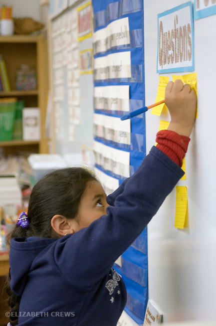 """Oakland CA 2nd grade student writing query about work on bulletin board--party of """"Open Court"""" educational program"""
