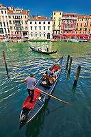 Gondolas on the Grand Canal near Rialto , Venice, Italy