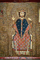 Romanesque painted Gia altar front<br /> <br /> Second quarter of the thirteenth century from the church of Santa Maria Gia and Xia, High Ribagorca, Huesca, Spain<br /> <br /> Acquired by the National Art Museum of Catalonia, Barcelona 1932. Ref: 3902 MNAC.<br /> <br /> Romanesque painted altar front from Santa Maria Gia, Spain, showing Christ Pantocrator. The  exceptionally the bottom frame remains the signature of the author, a painter named John (Johannes). This work is typical of the Ribagorca style and incorporates early gothic compositional styles and narrative that subtly illuminates the faces. Also typical of the Ribagorca workshop are the  decorated plaster reliefs on the entire surface of the front, which is covered with the characteristic gold leaf.