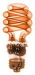 X-ray image of a compact fluorescent bulb (orange on white) by Jim Wehtje, specialist in x-ray art and design images.