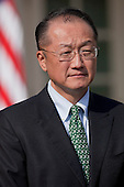 Jim Yong Kim, president of Dartmouth College, is introduced by United States President Barack Obama, not pictured, as a nominee to become president of the World Bank in the Rose Garden of the White House in Washington, D.C., U.S., on Friday, March 23, 2012. Kim was born in Seoul and is a U.S. citizen. He would succeed Robert Zoellick as the head of the bank. The bank made $57 billion loans in the last fiscal year. .Credit: Andrew Harrer / Pool via CNP