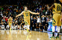 PITTSBURGH, PA - MARCH 21: Pat Connaughton #24 of the Notre Dame Fighting Irish celebrates during overtime of their 67-64 win over the Butler Bulldogs during the third round of the 2015 NCAA Men's Basketball Tournament at Consol Energy Center on March 21, 2015 in Pittsburgh, Pennsylvania.  (Photo by Jared Wickerham/Getty Images)