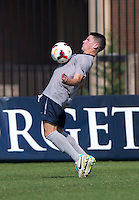 Tom Skelly (17) of Georgetown controls the ball in front of Jason Wellington (17) of Seton Hall during the game at Shaw Field in Washington, DC.  Georgetown defeated Seton Hall, 8-0.