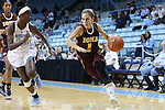 21 November 2015: Iona's Marina Lizarazu (ESP) (1) and North Carolina's Destinee Walker (left). The University of North Carolina Tar Heels hosted the Iona College Gaels at Carmichael Arena in Chapel Hill, North Carolina in a 2015-16 NCAA Division I Women's Basketball game. UNC won the game 64-52.