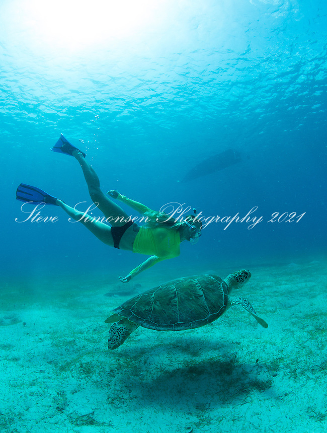 Shelby and a green sea turtle<br /> Turtle Bay<br /> Buck Island<br /> St. Thomas<br /> US Virgin Islands