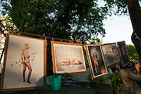 Moscow, Russia, 15/05/2012..Opposition political art mocking Putin and Medvedev in Chistiye Prudy, or Clean Ponds, as a Moscow court ordered the eviction of some 200 opposition activists who have set up camp in the city centre park.