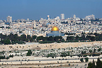 Temple Mount  and Dome of the Rock in the Old City of Jerusalem in Israel.