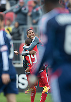 21 April 2012: Toronto FC midfielder Reggie Lambe #19 celebrates his goal with Toronto FC forward Joao Plata #7 during the first half in a game between the Chicago Fire and Toronto FC at BMO Field in Toronto...
