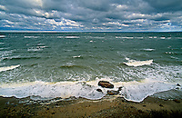 New York, Cutchogue, The Sound, Birch Beach, Long Island, North Fork, Storm waves crashing on shore