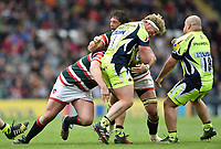 Ross Harrison of Sale Sharks is tackled by Dom Barrow of Leicester Tigers. Aviva Premiership match, between Leicester Tigers and Sale Sharks on April 29, 2017 at Welford Road in Leicester, England. Photo by: Patrick Khachfe / JMP