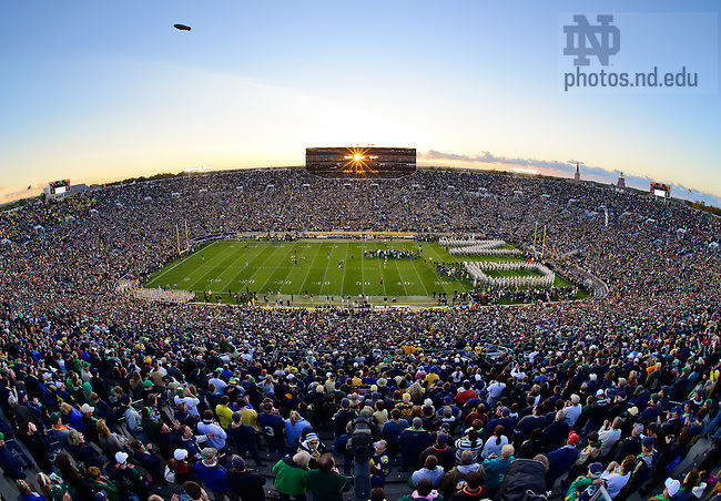 "Sept. 22, 2012; The Band forms the letters ""ND"" for the football team's entrance into the stadium for the Michigan game...Photo by Matt Cashore/University of Notre Dame"