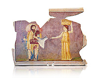 Roman fresco wall decorations from Villas of Rome. Museo Nazionale Romano ( National Roman Museum), Rome, Italy. Against a white background.