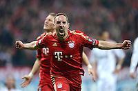 FUSSBALL   CHAMPIONS LEAGUE  HALBFFINAL HINSPIEL   2011/2012      FC Bayern Muenchen -Real Madrid          17.04.2012 Jubel nach dem Tor zum 1:0, Franck Ribery (FC Bayern Muenchen)