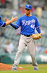 13 September 2008: Kansas City Royals' pitcher Leo Nunez celebrates a win against the Cleveland Indians at Progressive Field in Cleveland, Ohio. The Royals defeated the Indians 8-3 in the first game of their rain delayed double-header...Mandatory Photo Credit: Ed Wolfstein Photo