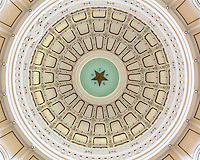 """You have to crank back your head to get this view at the state capitol in Austin, Texas. This perspective looks straight up to the dome - 266 feet high. The Texas Star is 8 feet across and is surrounded by the letters spelling out """"TEXAS."""""""