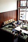 The lobby at The Ace Hotel in downtown Portland, a hip budget boutique hotel.