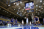 19 December 2014: Duke's Amber Henson (30) shoot a free throw. The Duke University Blue Devils hosted the University of Massachusetts Lowell River Hawks at Cameron Indoor Stadium in Durham, North Carolina in a 2014-15 NCAA Division I Women's Basketball game. Duke won the game 95-48.