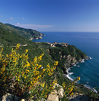 Italy, Liguria, Manarola: View along Cinque Terre coastline with village Corniglia, UNESCO World Heritage Site | Italien, Ligurien, Cinque Terre: Blick entlang der Kueste aufs Dorf Corniglia, UNESCO-Weltkulturerbe.