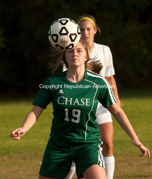 WATERBURY, CT--- -102115JS18---Chase's Sam Crone (19) gets control of the ball  during their game against Ethel Walker Wednesday at Chase Collegiate School in Waterbury. <br /> Jim Shannon Republican-American