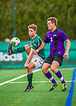 19 October 2013: University of Vermont Catamount Forward Daniel Kuczynski, a Junior from Toronto, Ontario, works against University at Albany Great Dane Defenseman Luke Palmateer, a Freshman from Perth, Australia, at Virtue Field in Burlington, Vermont. The Catamounts defeated the visiting Danes 2-1. Mandatory Credit: Ed Wolfstein Photo *** RAW (NEF) Image File Available ***