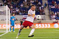 Brandon Barklage (25) of the New York Red Bulls. The New York Red Bulls defeated Toronto FC 4-1 during a Major League Soccer (MLS) match at Red Bull Arena in Harrison, NJ, on September 29, 2012.