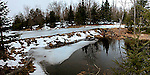 Beaver dam on pond on wolf grove stream, Lanark Co., Ontario, Canada