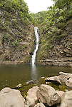 Hawaii: Molokai, Moaula Waterfall in the Halawa Valley..Photo himolo129-72414..Photo copyright Lee Foster, www.fostertravel.com, lee@fostertravel.com, 510-549-2202
