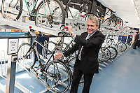 Robert Goodwill MP, Minister of State for Transport,  at the official opening of Nottingham Railway Station's new secure Cycle Hub