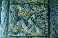 Close up of Mayan date glyph on Stela D at the ruins of Quirigua, Guatemala