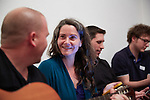 """14.4.2015, Berlin. Home of Rivka Halbershtadt (Israeli). Memories@Home is an annual event born from our understanding that we, young Jewish people living in Israel today, are growing increasingly disconnected from the official and outdated events of """"Holocaust Memorial Day"""". Anke (German friend) singing"""