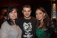 Moscow, Russia, 07/03/2011..Azerbaijani rock singer Emin Agalarov with mother Irina and wife Leila Alieva, daugher of Azerbaijan President Ilkham Aliev. Agalarov has released 5 albums, and his first UK album &quot;Memory&quot; is due for release. He is also the commercial director of the Crocus International company, founded by his father Aras.