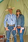 T.J. Carter and his wife Nicole Carter inside tentJordan Valley Big Loop Rodeo..