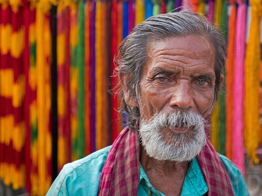 Note the blue Eyes of this man.Life in the streets of Kolkata, West Bengal, India
