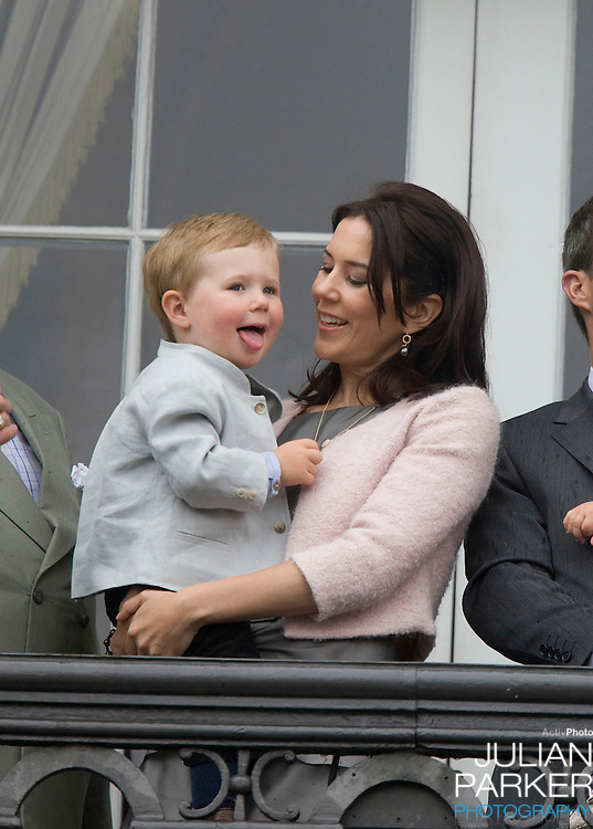 Crown Princess Mary of Denmark and her son Prince Christian on the Balcony of Amalienborg Palace in Copenhagen to celebrate Crown Prince Frederik's 40th Birthday.